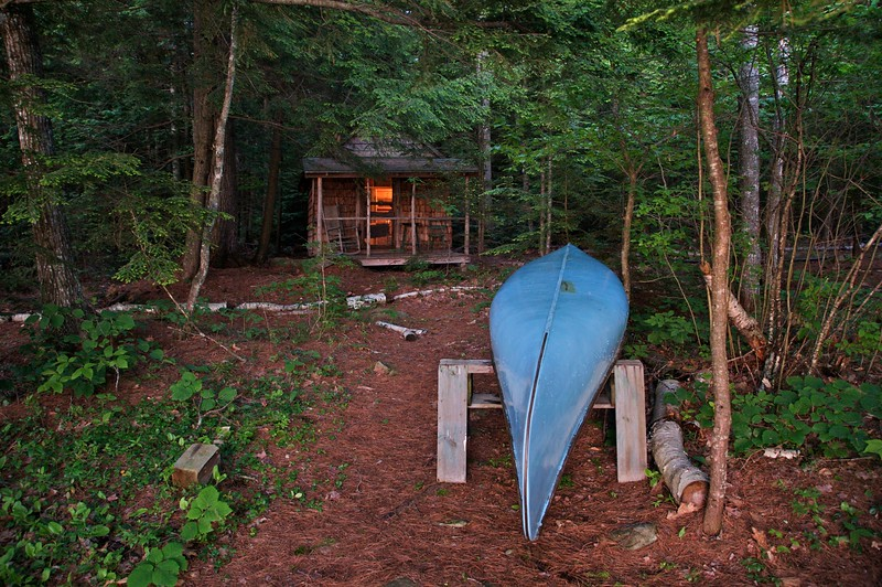 Cabin and canoe