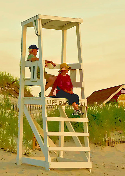 LifeGuards - Mayflower Beach, Dennis, MA <br /> Topaz Water Color
