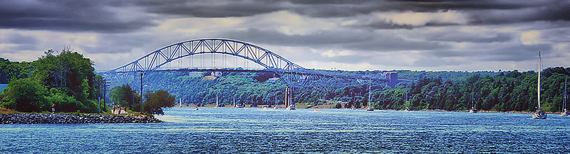 Sagamore Bridge and Cape Cod Canal - still working on HDR processing; need to take sharper pictures; this was taken with my older Dynax (Maxxum) 5 about a mile or more away and I cropped the original picture.  See the next picture which was the original