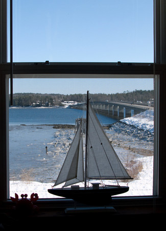 Model Sailboat in a Window, Wiscasett, Maine