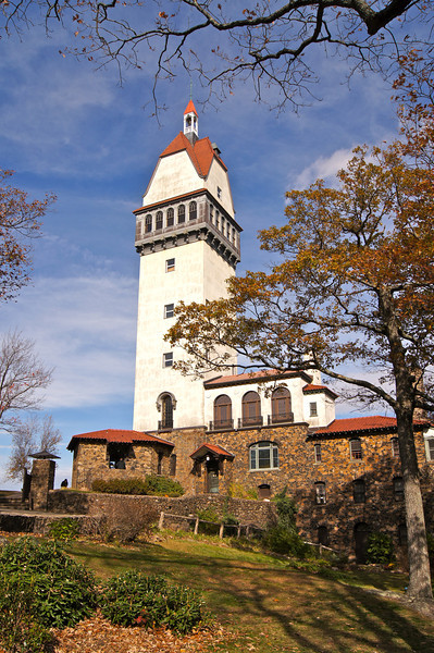 The Heublein Tower at the summit of Talcott Mountain.  The 165-foot structure was built as a summer home in 1914 by Gilbert Heublein.