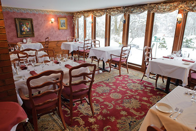 A portion of the dining room at the Colby Hill Inn.