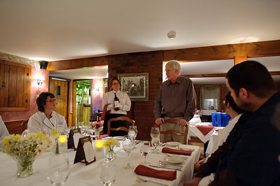 The owner and chef eat with us, and the owner discusses the wines that he's serving.