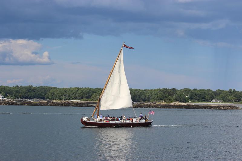 Flat-bottom Gundalow-style Barge