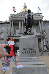 New Hampshire has many references to this man, Daniel Webster. He was a senator and a good speaker. That he's here right in front of the capitol building tells you how revered he is.