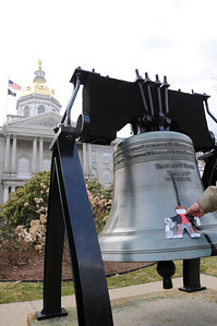 "Now Stanley is checking out Concord, NH. Did you think this was the Liberty Bell? Actually, it's a replica of the real one, but that crack is just painted on. Where is the ""real"" Liberty Bell?"
