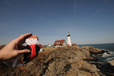 Here Stanley is enjoying another famous attraction in Maine: Portland Head Light in Cape Elizabeth.
