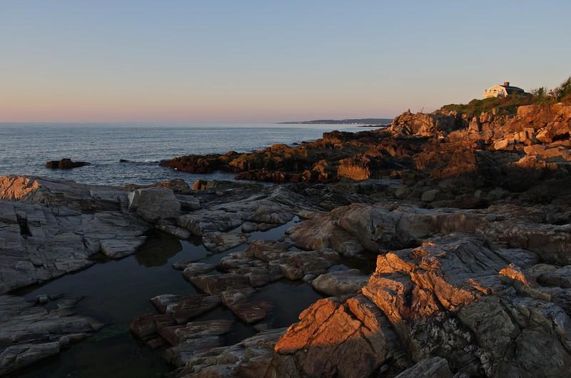 Dawn on coastal rocks