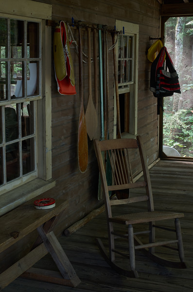 On the camp porch