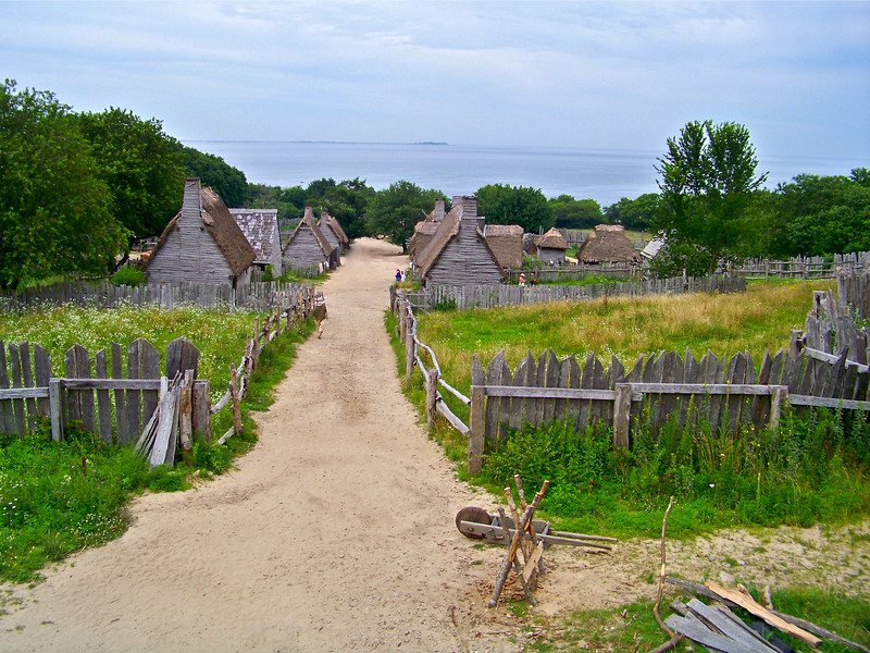 The 17th-Century English Village is a re-creation of the small, walled farming and maritime community built by the Pilgrims along the shore of Plymouth Harbor. In the Village, the year is 1627, just seven years after the arrival of Mayflower.