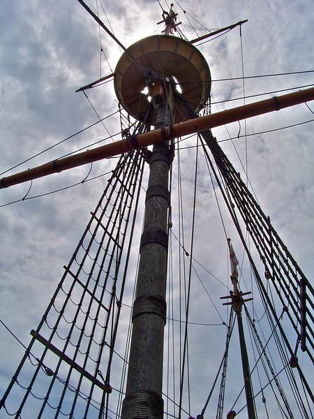 The main mast of Mayflower II, Plymouth harbor, Massachusetts.