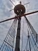 The main mast of Mayflower II, Plymouth harbor, Massachusetts.