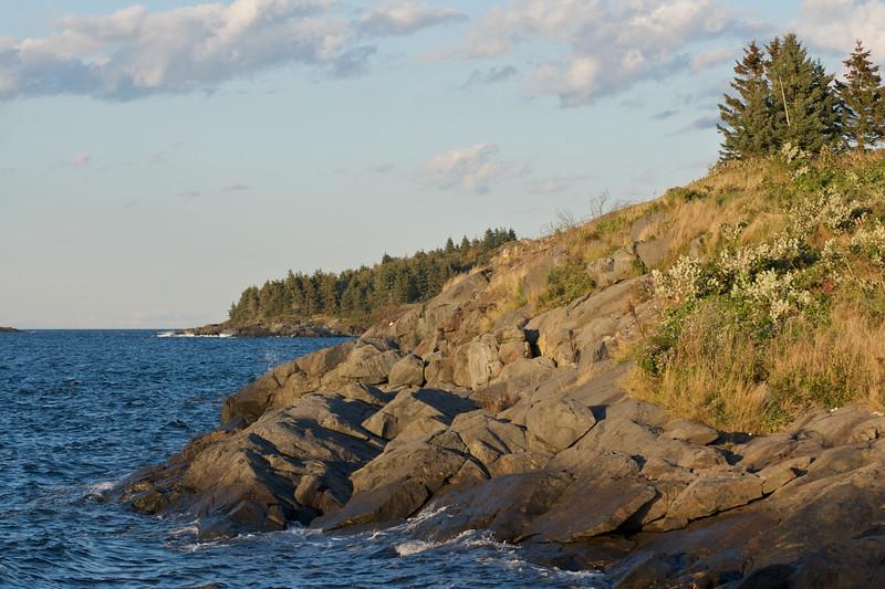 Shore, north of the harbor