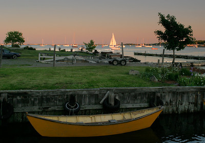 Yellow Dory on the Merrimack River, at Newburyport MA.