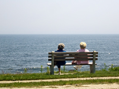 Two Woman Looking at the Ocean, North Hampton, NH