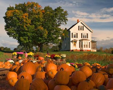 New England Farmhouse in Autumn, West Newbury MA