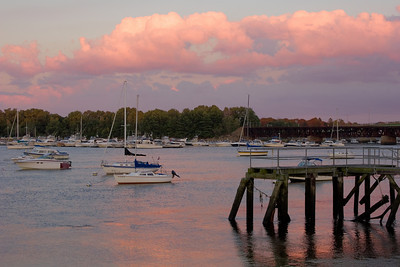 Boats on the Merrimack River at Sunset, Newburyport MA