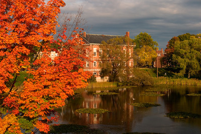Fountain in a City Pond in Autumn, Bartlett Mall, Newburyport MA
