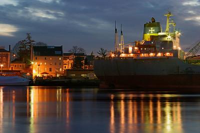 Cargo Ship in Portsmouth Harbor