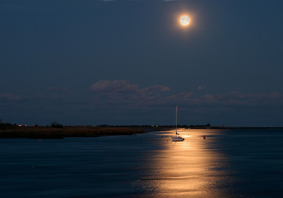 Moonrise Over a Lone Sailboat, Merrimack River, Newburyport MA