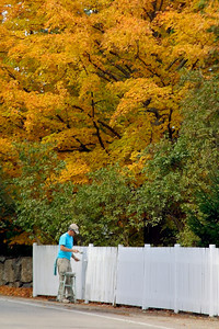 Man Painting a White Fence in Autumn, Rye Beach NH