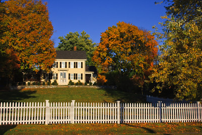 New England Colonial Home in Autumn, Newbury MA