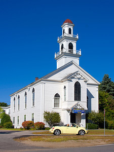Volkswagen Convertible in front of a Church, North Hampton NH