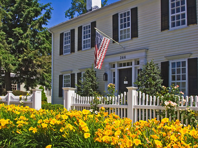 Day Lilies in Front of a Colonial House, High Street, Newburyport MA