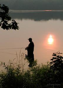 Fishing at Sunset, Artichoke Reservoir, Newburyport MA
