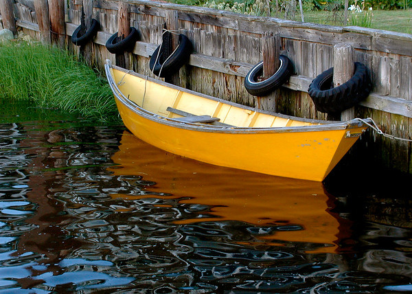 Wooden Dory At The Dock