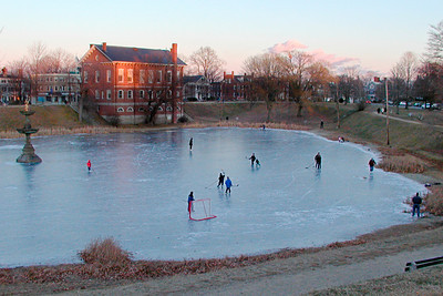 Pond Hockey at Dusk, bartlett Mall, Newburyport MA