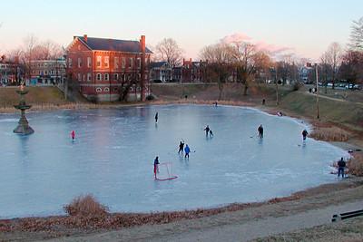 Pond Hockey at Dusk, bartlett Mall, Newburyport MA