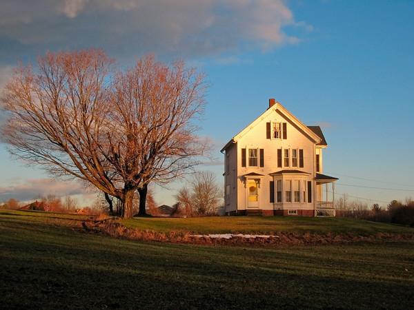 New England Farmhouse in Winter, West Newbury MA