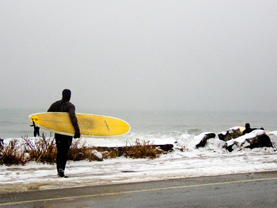 Surfer After a Winter Storm, North Hampton NH