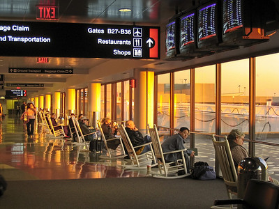 Sunrise in an Airport Waiting Room, Logan Airport, Boston