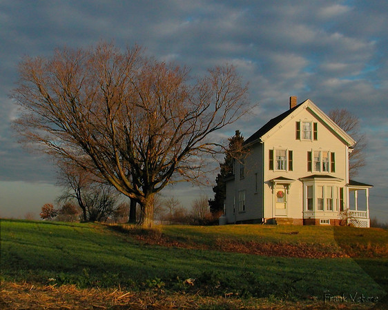 New England Farmhouse at Sunrise, West Newbury, MA