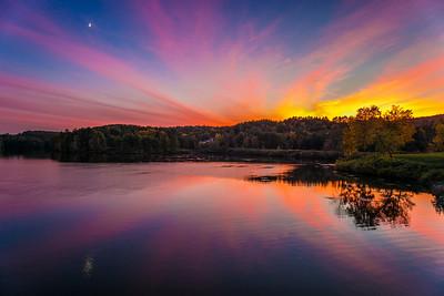 blazing sunset from Ledyard Bridge