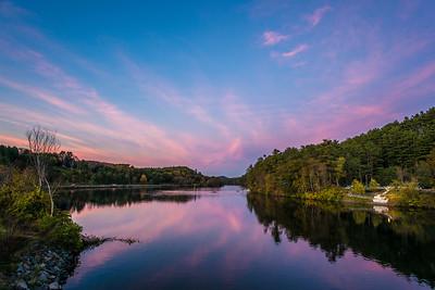 Connecticut River at dusk from Ledyard Bridge