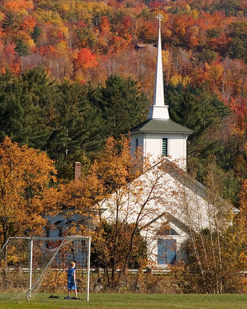Rural New England Church in Autumn