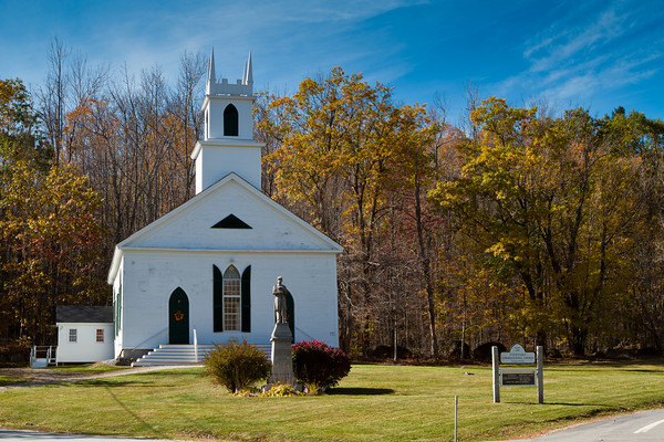 Stoddard Congregational Church, Stoddard, New Hampshire, a typical rural New England church established in 1787 .