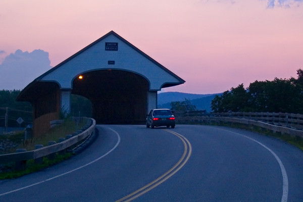 A New England Covered Bridge at Dusk