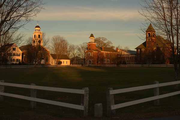 A New England Town Green At Sunset