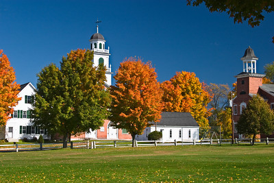 New England Town Green in Autumn