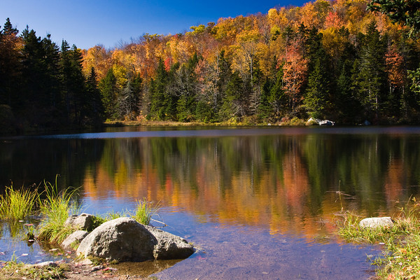 A Secluded Mountain Pond in Autumn