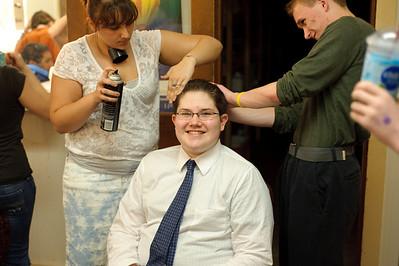 Jessica Lynn Turgeon getting everyone's hair just right.