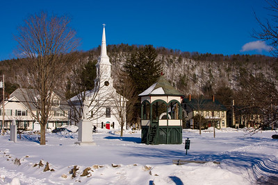 Snow-covered Town Common, South Royalton, Vermont