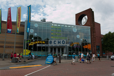 "Leahy Center for Lake Champlain Aquarium, Burlington, Vermont.  ECHO Lake Aquarium and Science Center, formerly the Lake Champlain Basin Science Center, is located on the Burlington waterfront in northern Vermont.  The name ECHO represents the mission of the organization which is to ""educate and delight"" people of all ages about the Ecology, Culture, History and Opportunities for stewardship of the Lake Champlain Basin."