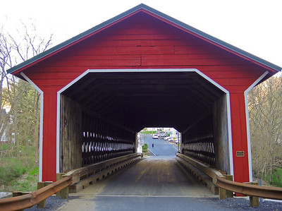 Rebecca approaching covered bridge