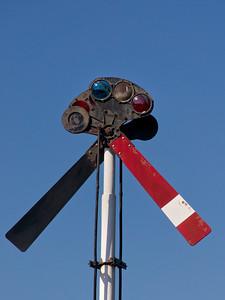 railroad signal closeup