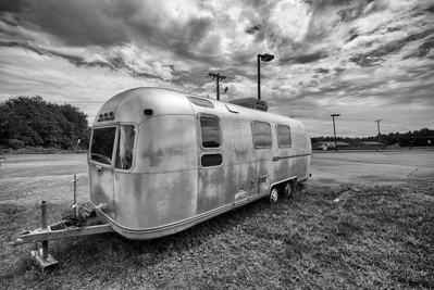 Airstream trailer B&W